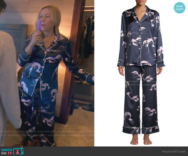 Lila Constance Lobster-Print Classic Silk Pajama Set by Olivia Von Halle worn by Sutton Stracke  on The Real Housewives of Beverly Hills