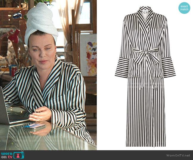 Capability Striped Silk Dressing Robe by Olivia von Halle worn by Maggie (Debi Mazar) on Younger