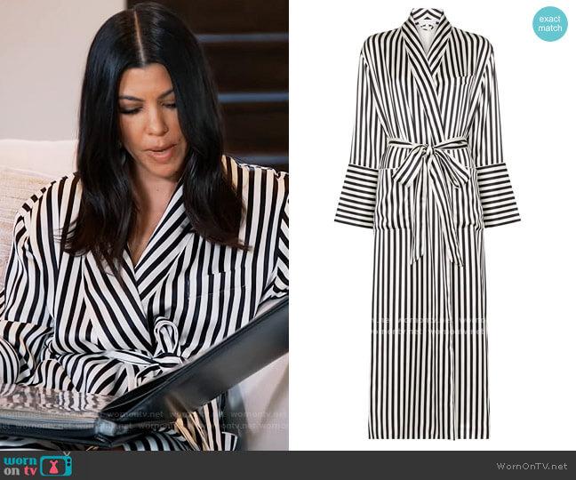 Capability striped silk dressing robe by Olivia von Halle worn by Kourtney Kardashian  on Keeping Up with the Kardashians