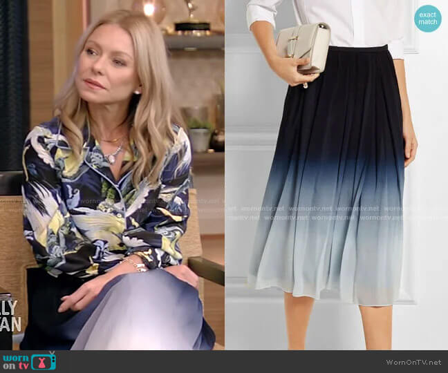 Ombré Silk-Chiffon Midi Skirt by Burberry worn by Kelly Ripa  on Live with Kelly & Ryan