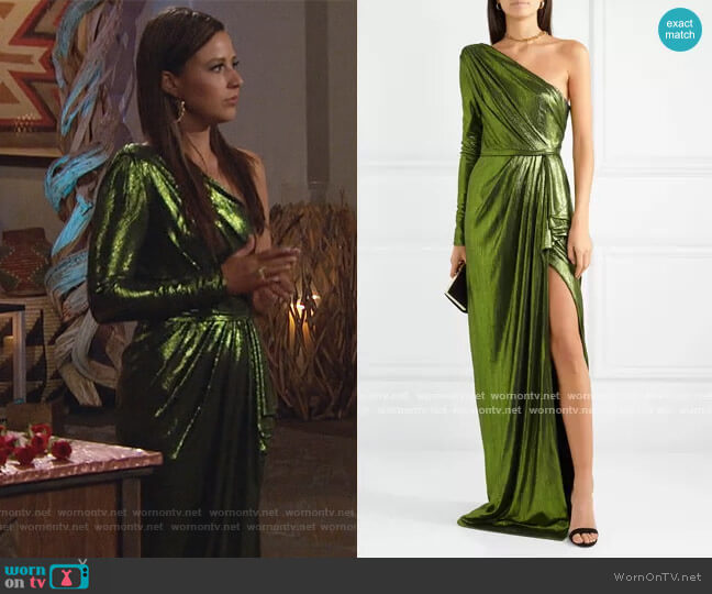 Eris one-sleeve draped lamé gown by Ong-Oaj Pairam worn by Katie Thurston  on The Bachelorette