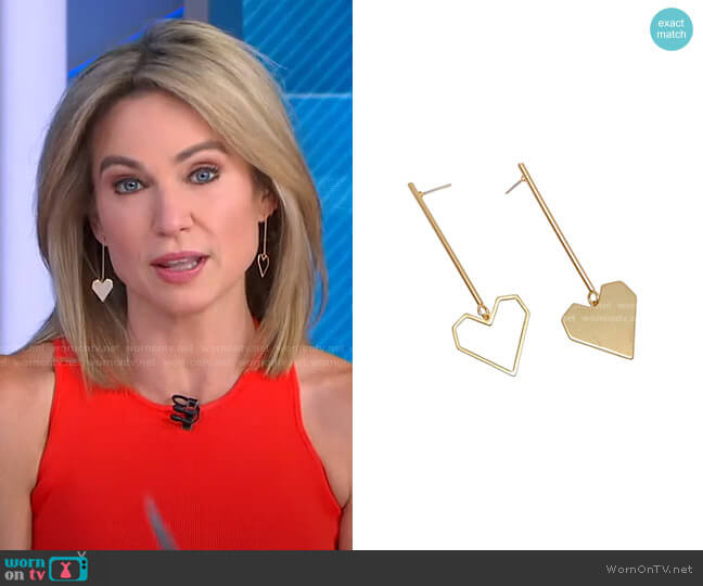 Open Heart Drops by Accessory Concierge worn by Amy Robach  on Good Morning America