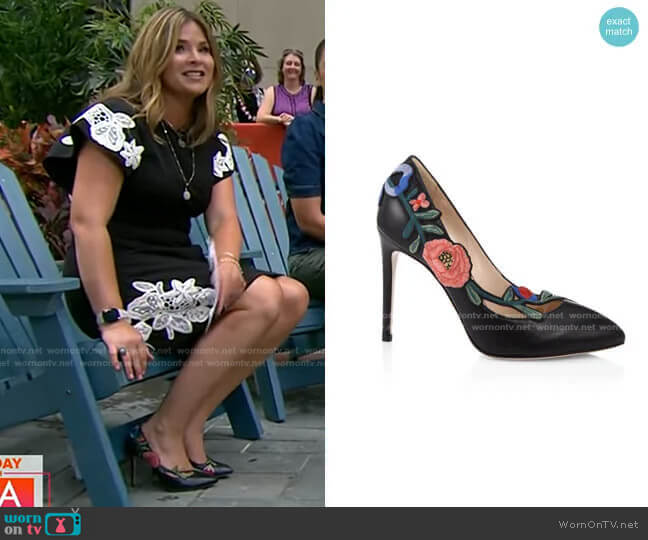 Ophelia Floral-embroidered Leather Pump by Gucci worn by Jenna Bush Hager  on Today