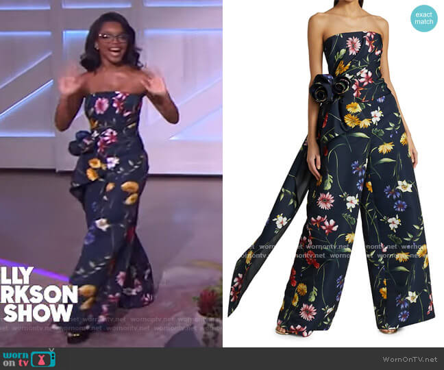 Floral Strapless Cascade Corset Top and Pants by Oscar de la Renta worn by Marsai Martin on The Kelly Clarkson Show