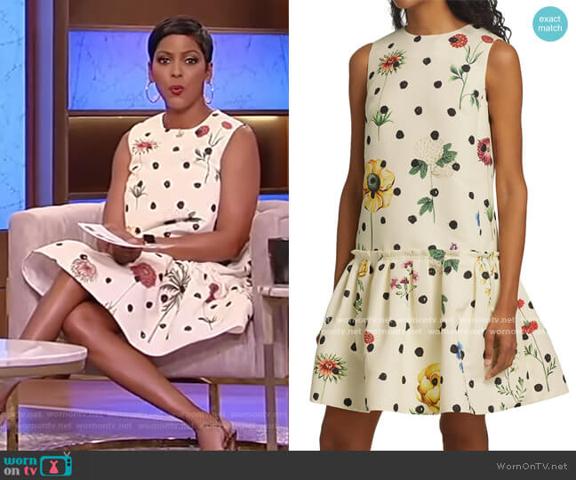 Floral Ruffle-Hem Shift Dress by Oscar de la Renta worn by Tamron Hall  on Tamron Hall Show