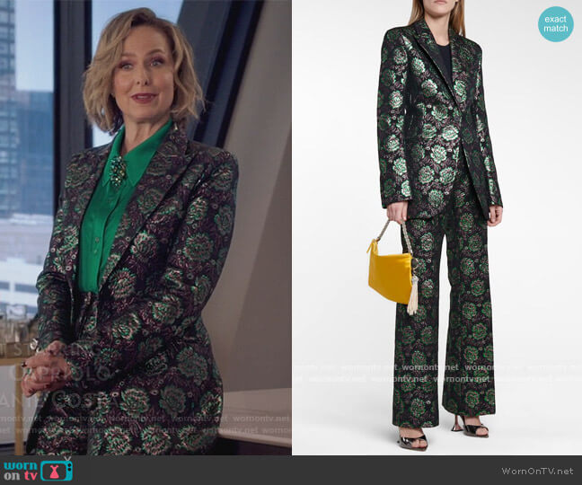Floral brocade blazer and Pants by Paco Rabanne worn by Jacqueline (Melora Hardin) on The Bold Type