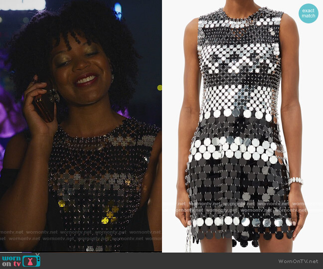 Sequinned Chainmail Mini Dress by Paco Rabanne worn by Chasten Harmon on The Good Fight