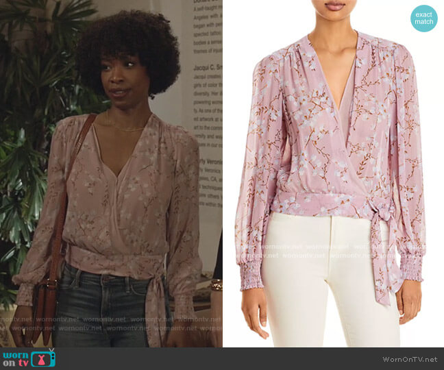 Margherita Floral-Print Silk Blouse by Paige worn by Grace James (Karimah Westbrook) on All American