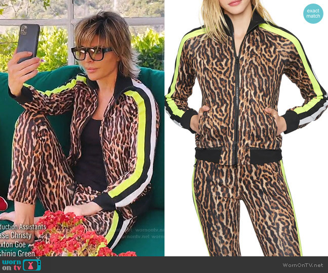 Ocelot Track Jacket by Pam & Gela worn by Lisa Rinna  on The Real Housewives of Beverly Hills