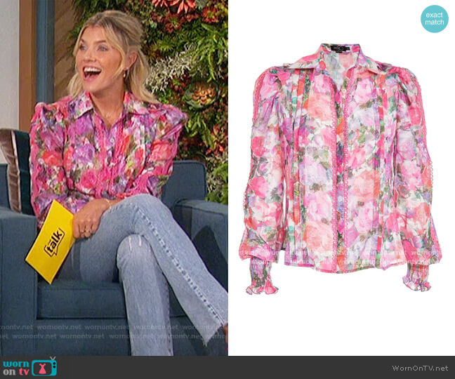 Blossom Button-Front Blouse by PatBO worn by Amanda Kloots  on The Talk