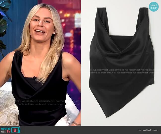 Petra Cropped Draped Satin Top by Nanushka worn by Morgan Stewart  on E! News