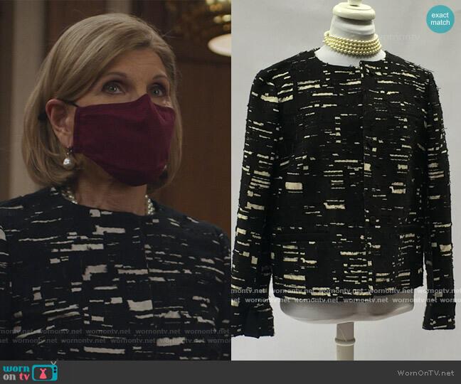 Black and White Textured Jacket by Piazza Sempione worn by Diane Lockhart (Christine Baranski) on The Good Fight