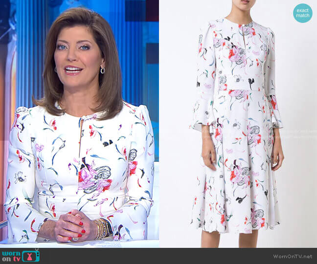 Pleated Skirt Floral Dress by Prabal Gurung worn by Norah O'Donnell  on CBS Evening News