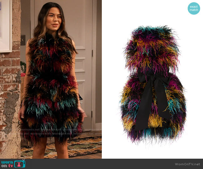 Prabal Gurung Daska Belted Feather Mini Dress worn by Carly Shay (Miranda Cosgrove) on iCarly