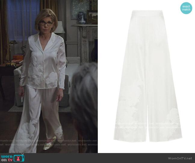 Primrose Hill appliqued stretch-silk satin pajama pants by Myla worn by Diane Lockhart (Christine Baranski) on The Good Fight