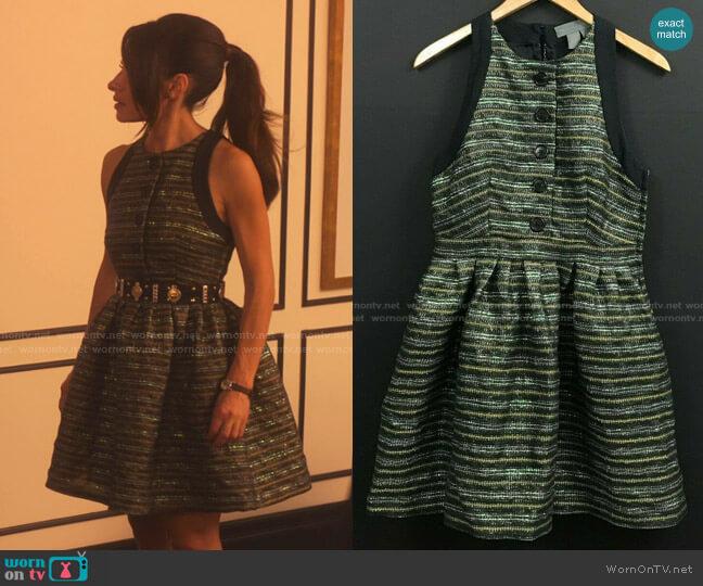 Metallic Stripe Sleeveless Mini Dress by Proenza Schouler worn by Billie Connelly (Sara Shari) on Sex/Life