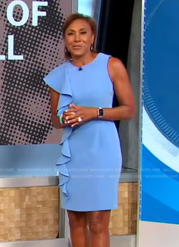 Robin's blue ruffled sheath dress on Good Morning America