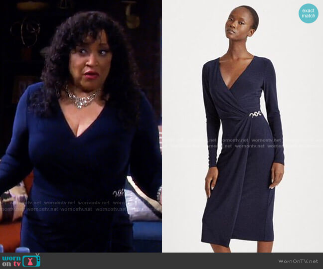 Matte Jersey Surplice Dress by Ralph Lauren worn by Paulina Price (Jackée Harry) on Days of our Lives