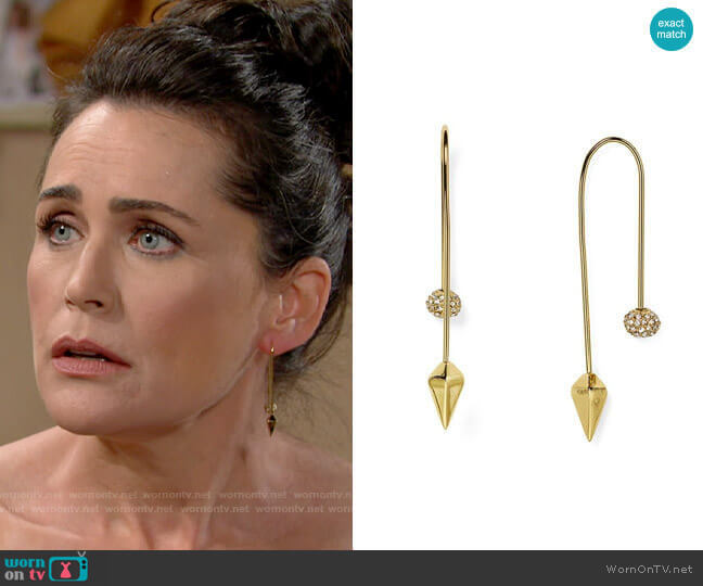 Rebecca Minkoff Pavé Ball Threader Earrings worn by Quinn Fuller (Rena Sofer) on The Bold & the Beautiful