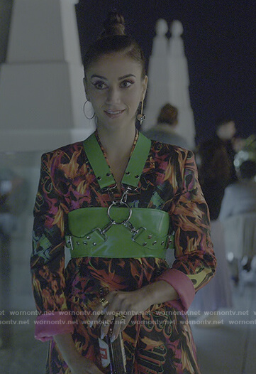 Rebeca's flame printed blazer dress on Elite
