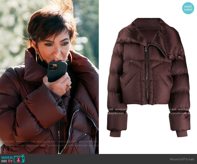 Padded Oversized Down Jacket by Rick Owens worn by Kris Jenner  on Keeping Up with the Kardashians