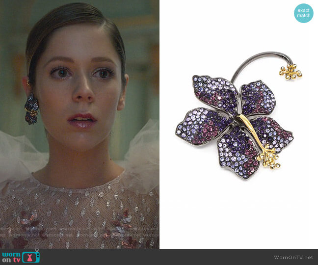 Earring Guillermina Violet by Rod Almayate worn by Cayetana Grajera Pando (Georgina Amoros) on Elite