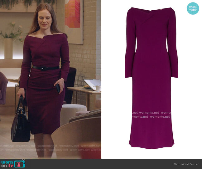 Romolo fitted midi dress by Roland Mouret worn by Alex Paxton-Beesley on The Bold Type