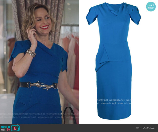 Geometric Panelling Fitted Dress by Roland Mouret worn by Jacqueline (Melora Hardin) on The Bold Type