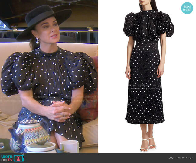 Dawn Midi Dress by Rotate Birger Christensen worn by Kyle Richards  on The Real Housewives of Beverly Hills