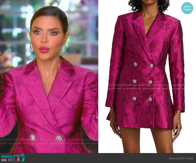 Newton Brocade Blazer Dress by Rotate Birger Christensen worn by Lisa Rinna  on The Real Housewives of Beverly Hills