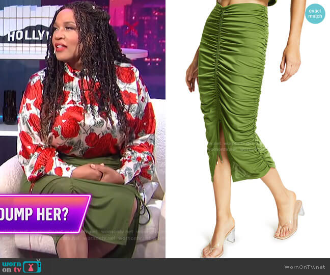 Ruched Midi Skirt by INC International Concepts worn by Kym Whitley  on E! News