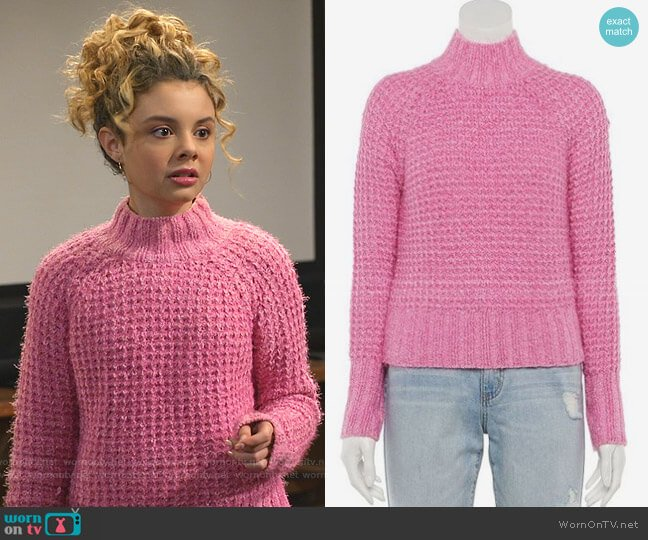 Feather Chenille Mockneck Sweater in Med Pink by SO worn by Destiny Baker (Mallory James Mahoney) on Bunkd
