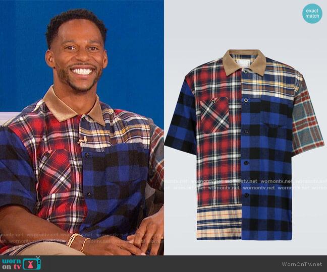 Plaid Mix short-sleeved shirt by Sacai worn by Victor Cruz on The Talk