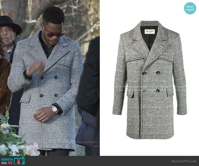 Double-Breasted Grained Coat by Saint Laurent worn by Jeff Colby (Sam Adegoke) on Dynasty