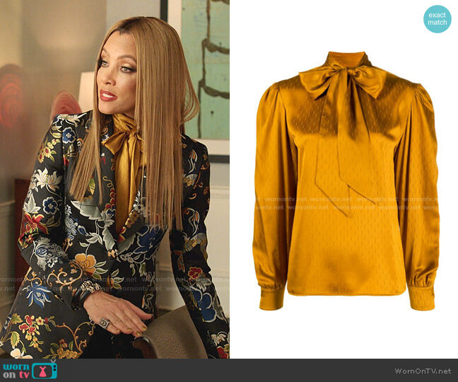 All-Over Monogram Pussy-Bow Blouse by Saint Laurent worn by Dominique Deveraux (Michael Michele) on Dynasty