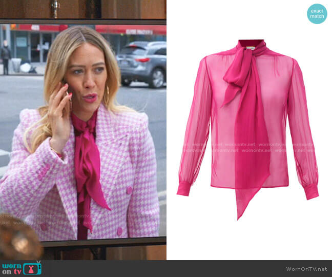 Pussy-Bow Silk-Chiffon Blouse by Saint Laurent worn by Kelsey Peters (Hilary Duff) on Younger