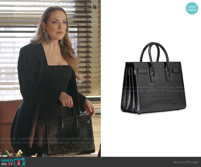 Sac de Jour Small Shiny Croco Effect Satchel Bag by Saint Laurent worn by Fallon Carrington (Elizabeth Gillies) on Dynasty