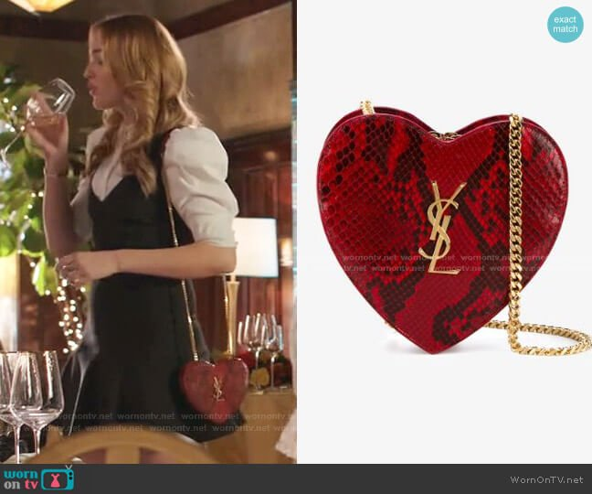 Small Love Heart Chain Bag by Saint Laurent worn by Kirby Anders (Maddison Brown) on Dynasty