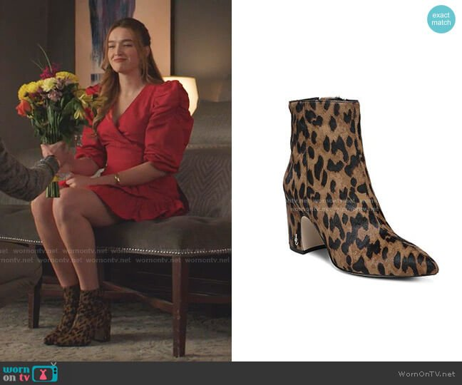 Hilty Leopard Print Calf Hair Booties by Sam Edelman worn by Kirby Anders (Maddison Brown) on Dynasty