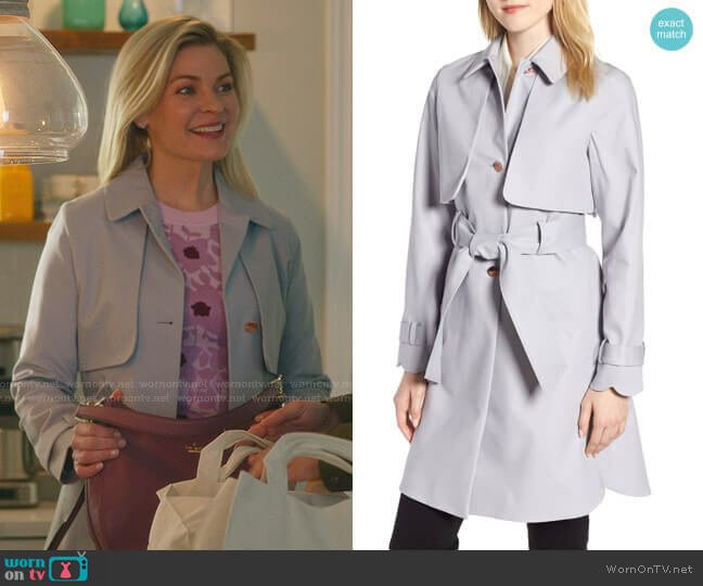 Scallop Detail Trench Coat by Ted Baker worn by Stephanie Borden (Kylee Evans) on Good Witch