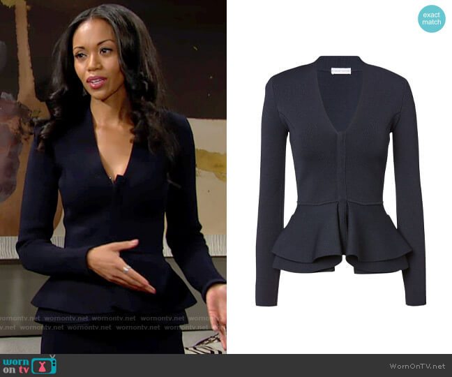Scanlan Theodore Crepe Knit V-neck Ruffle Jacket Navy worn by Amanda Sinclair (Mishael Morgan) on The Young & the Restless