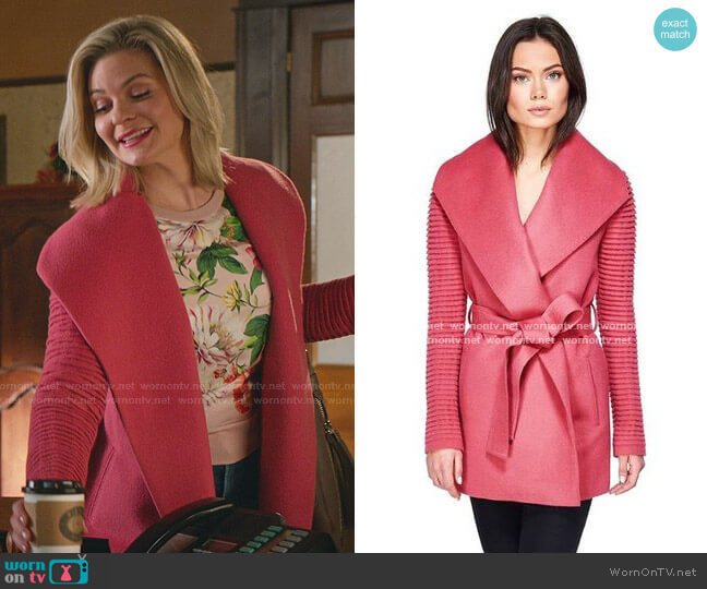 Shawl Collar Wrap Coat with Ribbed Sleeves in Tourmaline Pink by Sentaler worn by Stephanie Borden (Kylee Evans) on Good Witch