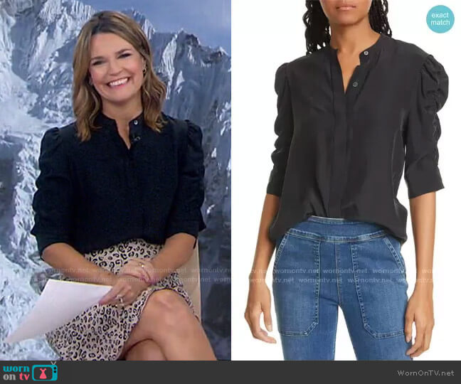 Shirred Sleeve Silk Blouse by Frame worn by Savannah Guthrie  on Today