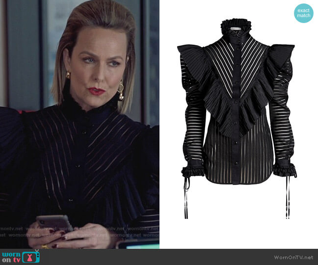 Ann Blouse by Unttld worn by Jacqueline (Melora Hardin) on The Bold Type