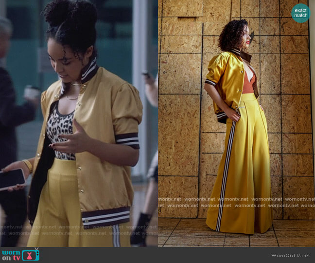 Pass the Mustard Exaggerated Wide Leg Track Pants by Six 20 worn by Kat Edison (Aisha Dee) on The Bold Type