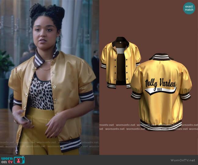 Dolly Varden Baseball Jacket by Six 20 worn by Kat Edison (Aisha Dee) on The Bold Type