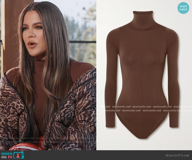 Essential Mock Neck bodysuit - Smokey Quartz by Skims worn by Khloe Kardashian  on Keeping Up with the Kardashians
