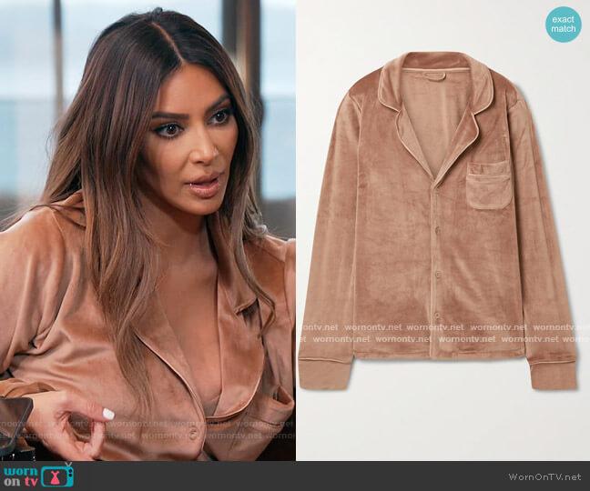 Velour sleep shirt by Skims worn by Kim Kardashian  on Keeping Up with the Kardashians