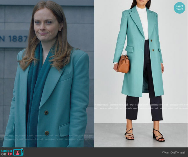Turquoise Coat by Smythe worn by Alex Paxton-Beesley