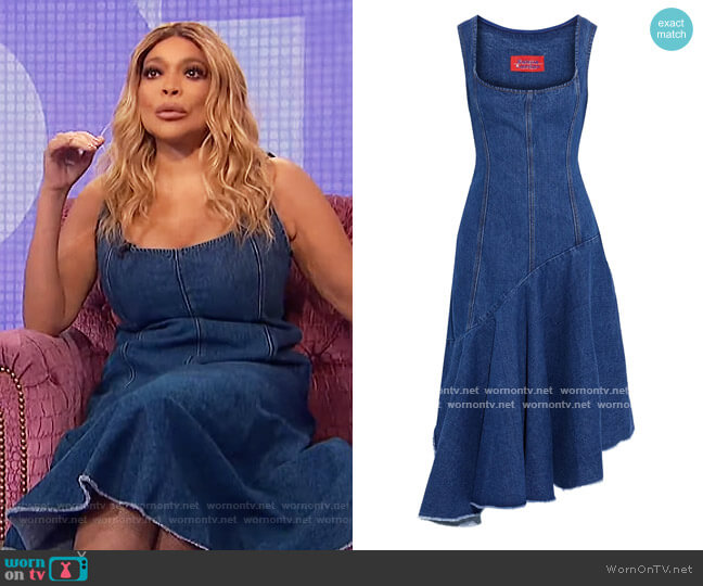 Lewis asymmetric paneled denim dress by Solace London worn by Wendy Williams  on The Wendy Williams Show